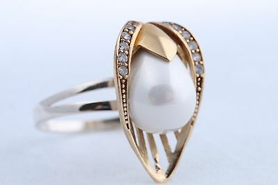 Turkish Handmade Jewelry Hurrem Pearl Topaz 925 Sterling Silver Ring Size 8