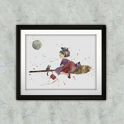 Kiki's Delivery Service Anime Art Print Printable Watercolor poster painting