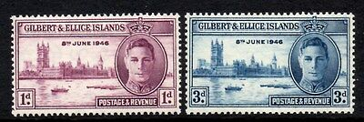 (Ref-9395) Gilbert & Ellice Islands 1946 Victory  SG.55/56  Mint (Hinged)