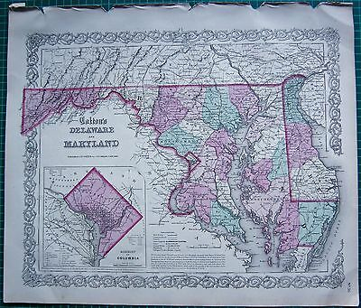 1855 Large Antique Map-Colton- Delaware And Maryland