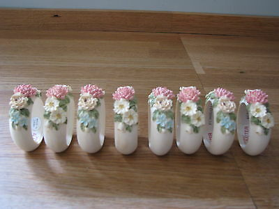 8 Alabaster Shabby Chic Floral Large Napkin Ring Holders Dinner Party Decoration