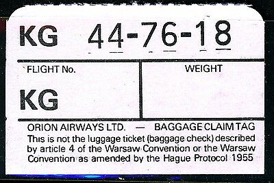 UK 1980s? Orion Airways baggage claim tag in good condition