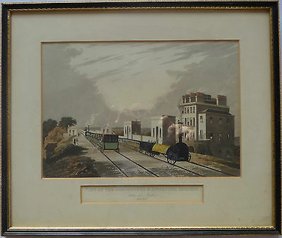A Rare 1825 Hand Coloured Engraving View Of Manchester And Liverpool Railway