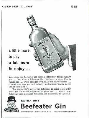 Vintage 1950's Advert - BEEFEATER GIN - 545