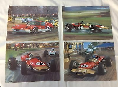 A SET OF FOUR LOTUS RACING CAR PRINTS From 1968 By Michael Turner