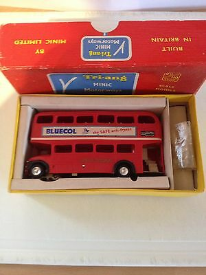 Triang Minic Motorways M1545 BLUECOL PLAYER'S BUS EXC. RUNNER NEAR MINT BOXED