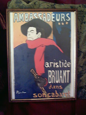 Toulouse Lautrec framed Print 'Ambassadeurs' with School of Aer Certificate