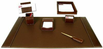 Dacasso Rustic Brown Leather Desk Set, 7-Piece