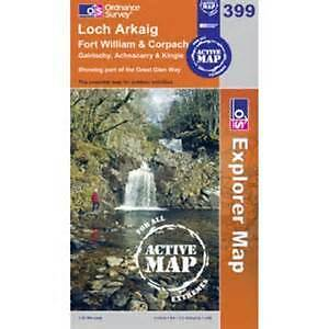 OS Explorer Map Active (399) Loch Arkaig - Fort William and Corpach (OS Explorer