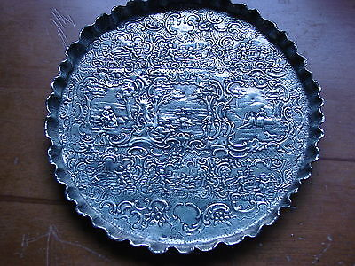 Lovely Embossed Victorian Solid Hallmarked Silver Tray London 1891