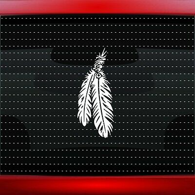Feather #6 Native American Car Decal Window Sticker Wolf Bear Paw (20 COLORS!)