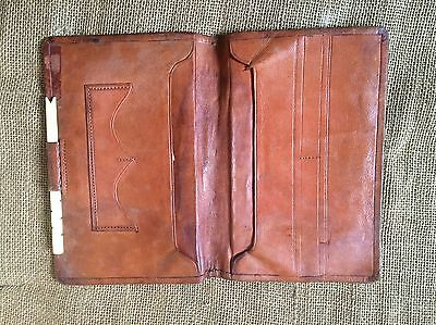 SUPERB Antique Early Vintage Empty Pigskin Leather FLY WALLET
