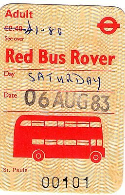 UK 1983 London Transport Red Bus Rover £1.80 amended by hand on £2.40  ticket