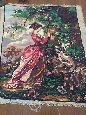 Completed Lady & Dog Needlepoint Tapestry (in soft cottons)