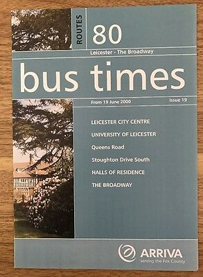 Arriva Fox County Bus Timetable - Service 80 Leicester University - June 2000