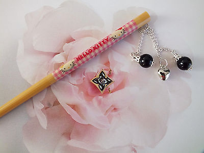 Japanese Pink Hello Kitty Chopstick Black Drop Hair Stick Women Chinese Party A9
