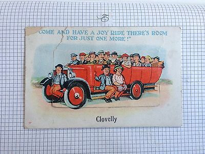 POCKET NOVELTY CARD PULL OUT missing CLOVELLY COME AND HAVE A JOY RIDE POSTCARD