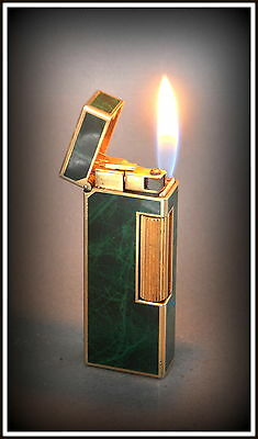 Dunhill Rollagas Lighter Green Marble Lacquer Gold Plated Serviced