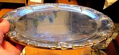 Vintage  Round SILVER Plated  Drinks Tray with Embossed Grapes Edge 32cms diam