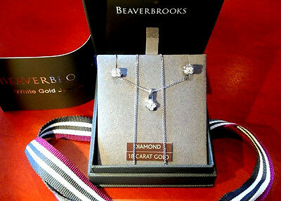 Chic BeaverBrooks 18ct white Gold Diamonds Necklace & Earrings Set Not Scrap