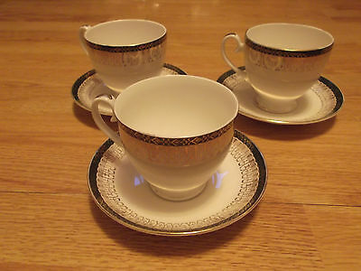Royal Grafton Majestic Green x 3 Cups & saucers