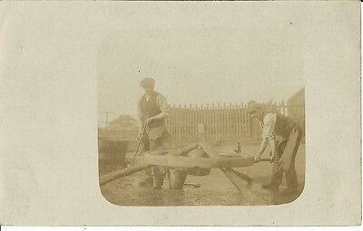 Social History, Making Or Repairing A Wooden Wheel, Candid Sepia Photo Postcard