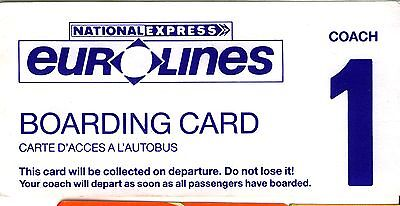 UK 1990s? National Express Eurolines boarding pass creased