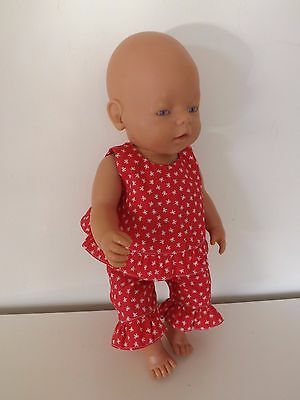 DOLLS CLOTHES - RED FRILLED TOP AND TROUSERS - fits Baby Born or Similar