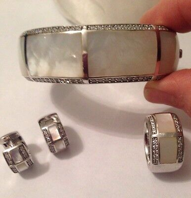 Ti Sento Silver Bangle, Ring And Earring Set, White MOP & CZ