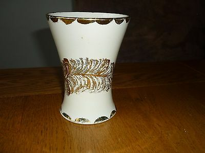Moorcroft Hand Painted Tapered Vase With Gold Feather Guilded Design 12cms High
