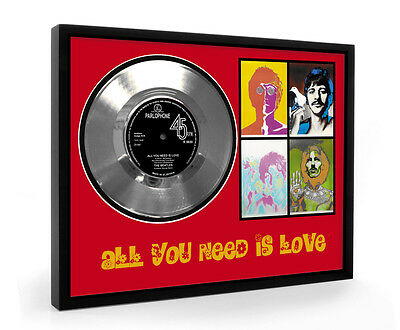 Beatles All You Need Is Love Framed Silver Disc Display Vinyl (C1)