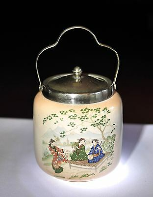 Vintage Biscuit Barrel with Silver Plated Handle & Lid