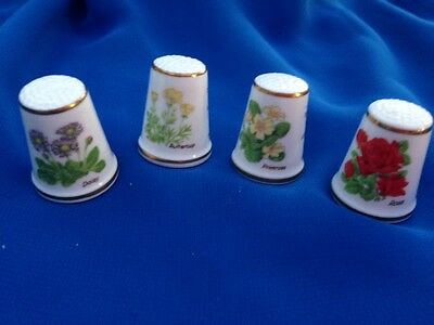 Royal Grafton Wildflower  Thimbles  Collectables  X  4