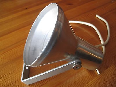 Vintage Mid Century Lamp With Aluminum Shade And Iron Holder
