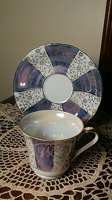 Purple Gold White Iridescent China Cup & Saucer Vintage Numbered