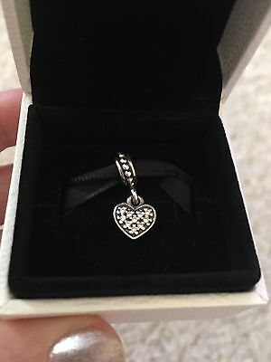 BNWOT Genuine Pandora silver & clear pave heart pendant charm, RRP £35
