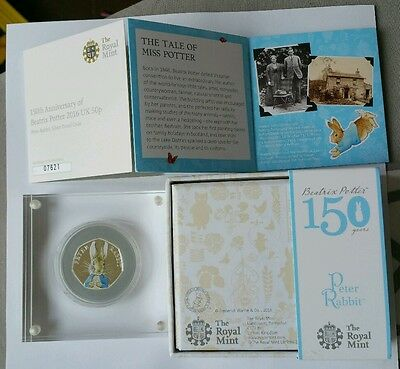 2016 Peter Rabbit Silver Proof Coloured 50p Coin Beatrix Potter 150t Anniversary