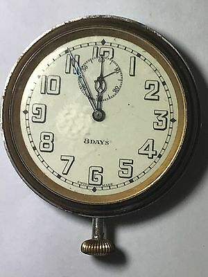 Vintage 8 Day Enamel Dial Swiss Made Car Clock Works Deco Wind Up