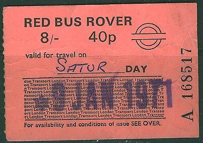 GB London Transport 8s (40p) dual currency  Red  Bus Rover dated 9 JAN 71