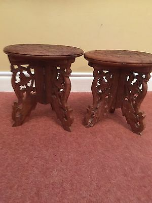 A Pair of Indian Carved small folding wooden side tables