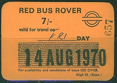 GB London Transport 7s Red  Bus Rover dated 14 AUG 70 with rounded corners