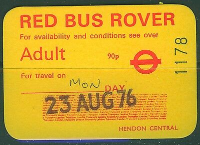 GB London Transport 90p Red  Bus Rover dated 23 AUG 76 with rounded corners