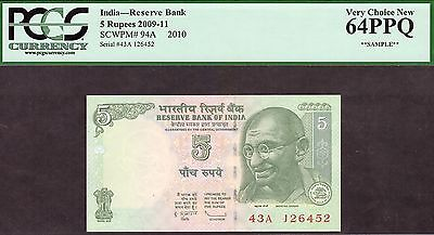 India - Reserve Bank - 5 Rupees 2009-11 - Pcgs Very Choice 64Ppq *sample*