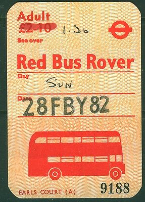 GB London Transport £1.20 handwritten on £2.10 Red  Bus Rover dated 28 FBY 82