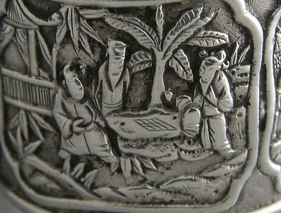 STUNNING CHINESE EXPORT SILVER VILLAGE SCENE NAPKIN RING c1880 ANTIQUE