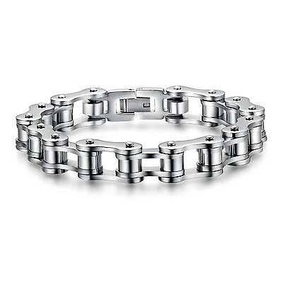 Mens Stainless Steel Motorcycle Biker Bracelet Chain Heavy Silver 8 Inch Bangle