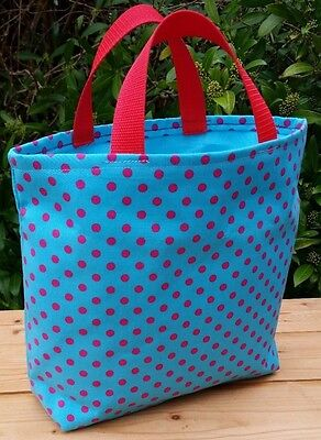 Small Knitting or Crochet Bag in Blue/Pink Spotty Fabric, Turquoise Lining