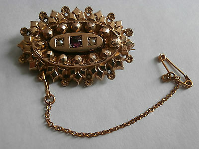 Stunning 9ct gold brooch with pearl and amethyst hallmarked