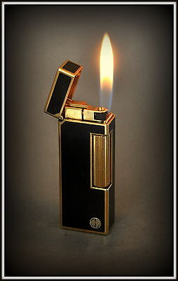 Dunhill Rollagas Lighter Black Lacquer Gold Plated (D) Logo Serviced