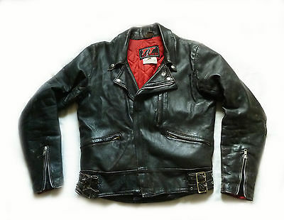 Superb Vintage Tt Leather Motorcycle Jacket - Small - Rockabilly Americana Biker